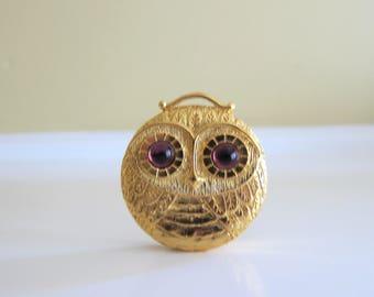 Vintage Revlon Owl Compact Solid Perfume, Pendant, Pill Box