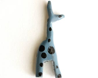 Distressed Blue Giraffe Bead. Animal Bead. One Black and Blue Hand Panted Rustic Style Giraffe Bead. 50mm x 17mm