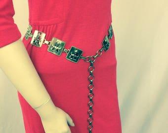 Gold Tone Chain Link Belt //Thailand  Buddha Ethnic Belt //Asian Figure Metal Belt