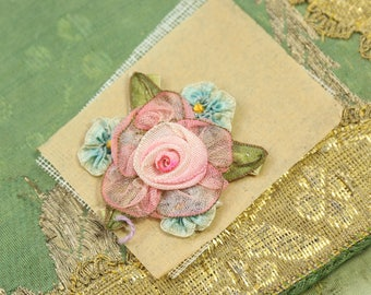 1 Antique silk metal ribbonwork piece ribbon flowers pink rosettes tniy trim ombre new old stock
