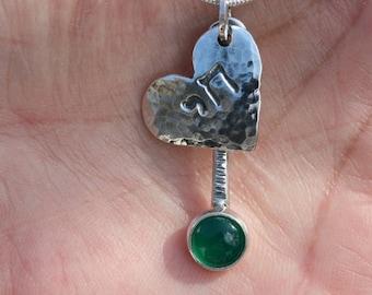 Silver Heart Chai Pendant ,Silver Necklace, Green Agat Chai Pendant , Silver Heart Necklace ,
