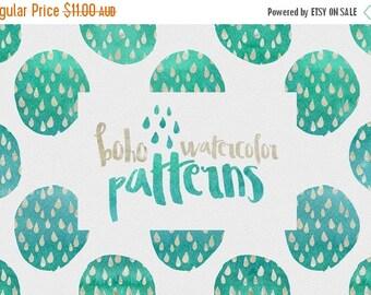 90% OFF Sale 70 Percent OFF Digital paper, Boho Watercolor Patterns - 16 digital pattern backgrounds