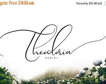 Digital Fonts 80% Off SALE Theodoria Script Font, Digital Font, Wedding Font, modern Calligraphy, Hand Writing, Logo
