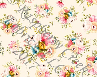 Ivory Peach Mustard Olive and Blush Floral Bouquet 4 Way Stretch Jersey Knit Fabric, Unfettered by Corinne Wells Designs for Club Fabrics