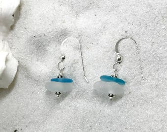 Beach Glass Earrings, Sea Glass Jewelry, Sea Glass Earrings, Lake Bottle Earrings, Lake Erie Beach Glass, Beach Gift