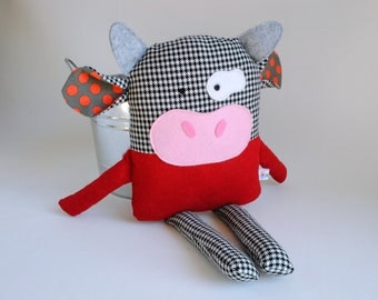 Cow Plush-Cow Stuffed Animal-Cow Softie-Stuffed Cow-Cow Toy-RePurposed-UpCycled-Red and Black-Bull-Black and White Cow
