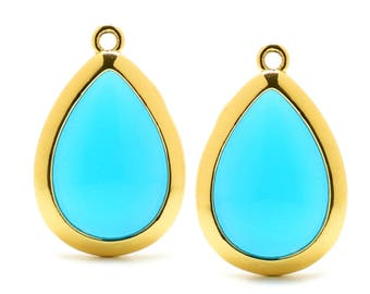 2 Drop Blue Turquoise Crystal Glass Pendant, 20mm, Gold Plated over Brass Bezel. [D0020599]