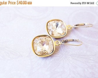 SALE Earrings, Gold Earrings, Crystal Earrings, Silk Earrings, Cushion Cut Earrings, Dangle Earrings, Drop Earrings, Handmade Earrings, Gift