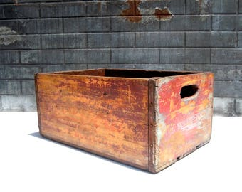 Vintage Wood Crate / Coca Cola Crate / Distressed Wood Crate / Printed Wood Crate / Storage Organization / Old Wood Crate / Industrial Decor