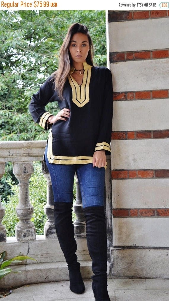 Autumn Dress 20% OFF/ Autumn Winter Mariam Black Tunic with Golden Embroidery- xmas gifts, resort wear, boho wear, as birthday gifts
