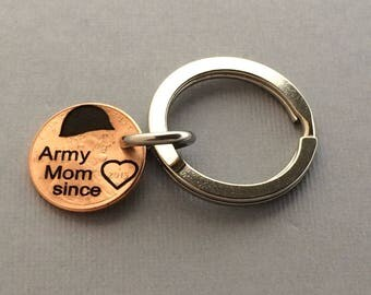 Army Mom since Penny - Army Keychain - Soldier Mom - Army Gift - Military Gift - Army Necklace - Army Jewelry -