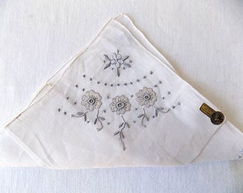 Handkerchief Handmade in Madeira All Linen Unused with Label in Greige