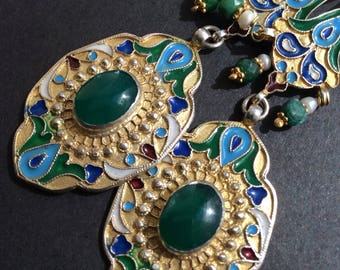 FREE SHIPPING   EDESSA  Earring sterling gold enamel jade asian antique inspired emerald