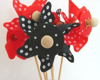 Mickey Mouse Favors Minnie Mouse Favors Pinwheels Spinning Pinwheels Birthday Decorations Party Favors Birthday Favors Table Centerpiece