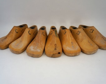 Lot of Seven Vintage Child Size 3C Shoe Lasts Antique Shoe Forms Wooden Shoe Forms Cobbler's Shoe Lasts