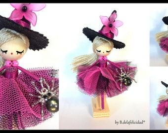 Doll witch Miniature brooch pin pendant