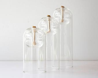 Vintage Modern Hand Blown Glass Oil Lamp Set