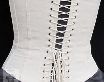 Coutil Lined Working Corset with Grommets - Victorian / Civil War reenacting - Mid Bust - Custom Made