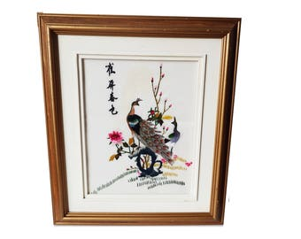 Vintage Chinese Embroidery/ Handmade Silk Thread Art Picture/ Hand Embroidered Peacocks / Matted and Framed