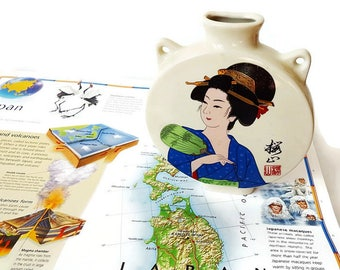 Vintage Japanese Ceramic Flower Holder- Hand Painted Pottery Match Holder -Round Ceramic  Wall Hanging - Japanese Geisha