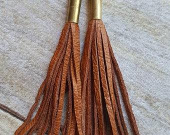 Rusty Orange Leather Fringe Earrings Bullet Shell Earrings Recycled Leather Earrings Leather Tassel Earrings Bullet Jewelry Boho Jewelry
