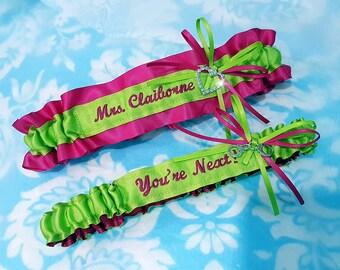 Wedding garter set - fuchsia pink - bright green - bridal garters - You're Next garter - Name garter - surname - heart garter - monogrammed