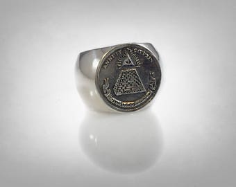 Sterling Silver 925 Masonic Annuit Coeptis Freemasonry Organizations Ring BY EZI ZINO