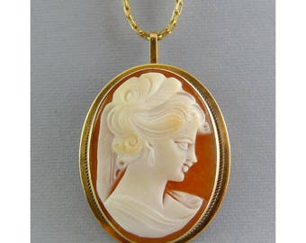 14K Yellow Gold Shell Cameo Pin/ Pendant – Woman with Veil & Earring