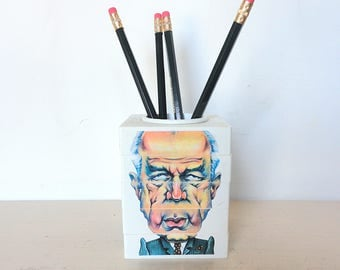 Vintage Pen and Pencil Holder Puzzle Game Political Satire