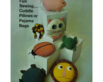 """Animal Shaped Cushions Pattern, Cat, Lion, Turtle, Lady Bug, Frog, Pig, Stuffed, Pajamas Bags, 1960s, Simplicity No. 7367 UNCUT Size 12-14"""""""