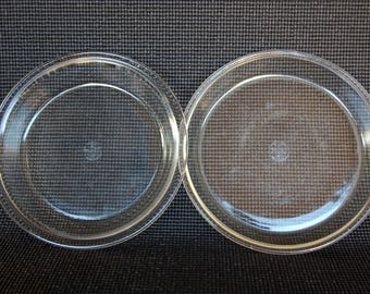 "Set of 2 Early Dollar Sign 9 Inch Pyrex Pie Plates 9 inch Original Pyrex 203 and 209 Clear Pyrex ""Corning Glass"" Marks circa 1921-1938"