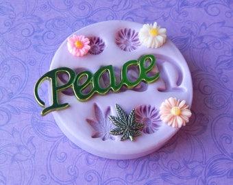 Silicone Pot Leaf Mold, Daisy, Peace, Polymer Clay Mold, Resin Daisy Mold, Resin Molds, Chocolate, Fondant Molds
