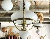 Vintage French Milk Glass light / pendant light / french country light / vintage hanging light