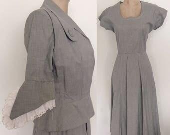 1940's Tiny Houndstooth Print Dress & Jacket