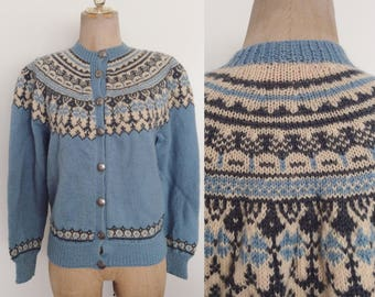 1960's Blue Norwegian Wool Knit Cardigan Sweater Size Small Medium by Maeberry Vintage