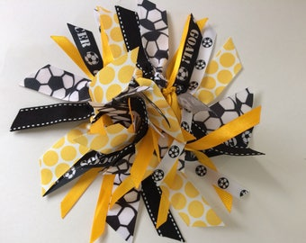 Soccer Ribbon Hair Streamer in Black, White, and Gold
