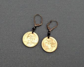 French Coin Earrings on Lever Backs