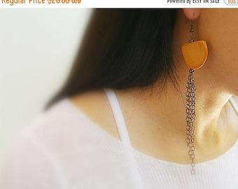 CIJ SALE Chain Dangle Earrings, Copper Chain, Orange Wood Abstract Bead, Copper Hooks