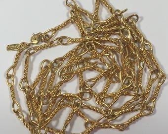 Vintage Monet Long Necklace Gold Tone