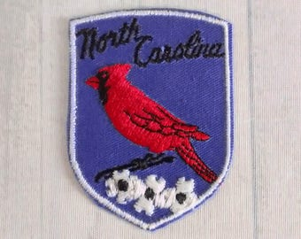 "Vintage 2.75"" North Carolina Souvenir Patch, State Bird Flower Applique, Cardinal, Flowering Dogwood, NC Travel"