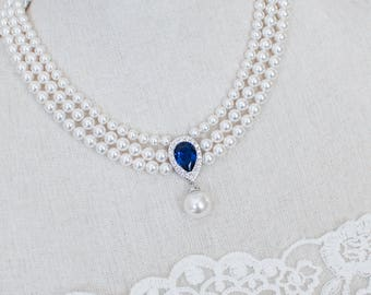 Vintage Style Sapphire Necklace, Wedding Pearl and Sapphire CZ Bridal Choker, Something Blue CZ Sapphire Multi Row Vintage Pearl Necklace