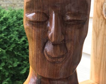 Vintage Sculpture / Solid Wood / Wooden / Mid Century Modern / Retro Art / Wood Sculpture / Hand Carved / Modernist Art / 1960s / Retro Home