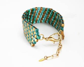 Teal & Bronze Diagonal Beaded Bracelet - in stock!