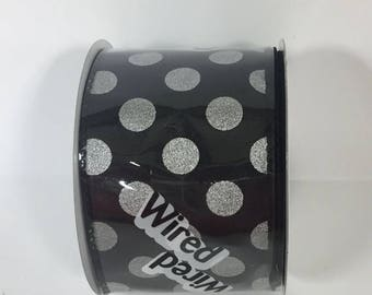 ON SALE 2.5 Inch Black Silver Dot Ribbon 224085-84
