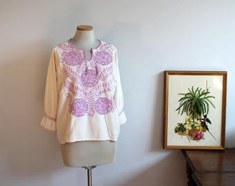 1970s Embroidered Mexican Huipil Blouse // Extra Large