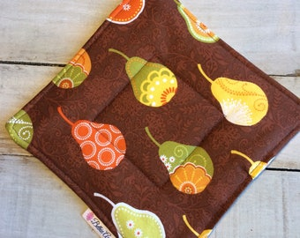 Pot Holder, Hot Pad, Potholder, Fabric Pot Holder, Fabric Hot Pad, Oven Potholder, Oven Hot Pad, Kitchen Potholder-Brown Pears