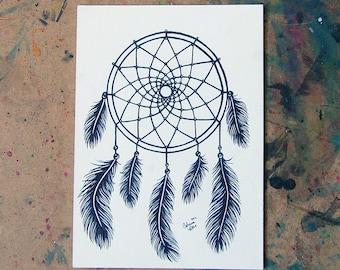ORIGINAL Drawing Inktober - Dreamcatcher Black and White Tattoo Style Illustration