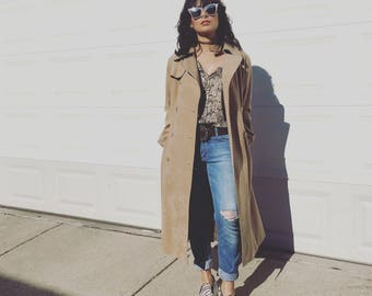 70s Retro trench coat in faux suede