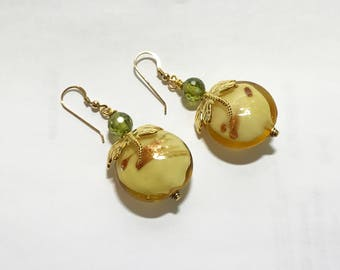 Hook Earrings Cream Gold Brushed Lampwork Coin Beads Gold Dapped Dragonfly on Each One Olive 7mm Cubic Zirconias CZs 14K Gold Filled Wires