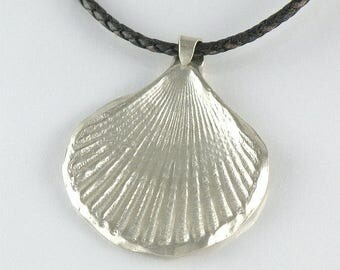 Seaside Jewelry, Seashell Sterling Silver Necklace Gift For Her, Sea Shell Necklace, Beach Jewelry Silver Seashell Pendant Blue Leather Cord